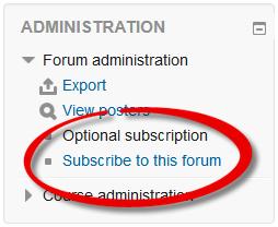Screenshot of Subscription link