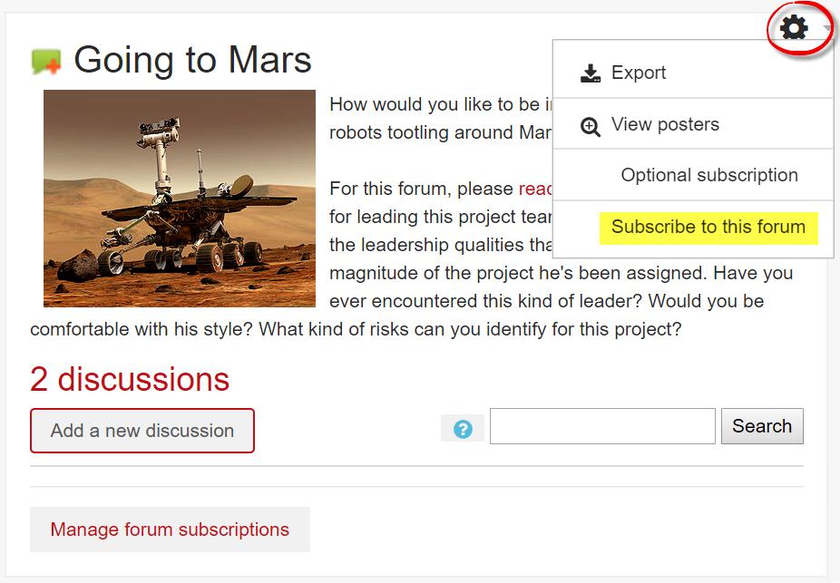 Screenshot of forum subscription option