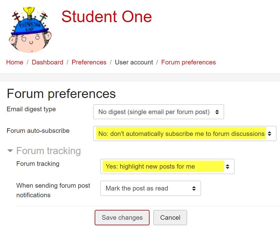 Screenshot of suggested settings