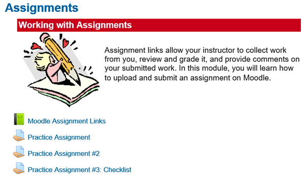 Screenshot of Assignments Section in Test Drive Course