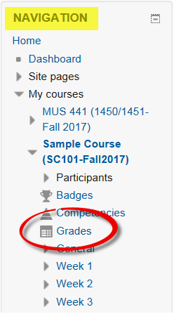 Screenshot of navigation block with Grades highlighted