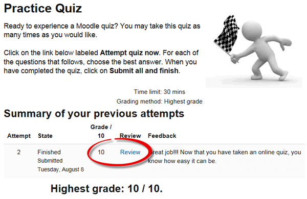 Screenshot of quiz review page