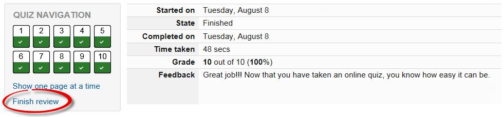 Screenshot of quiz review