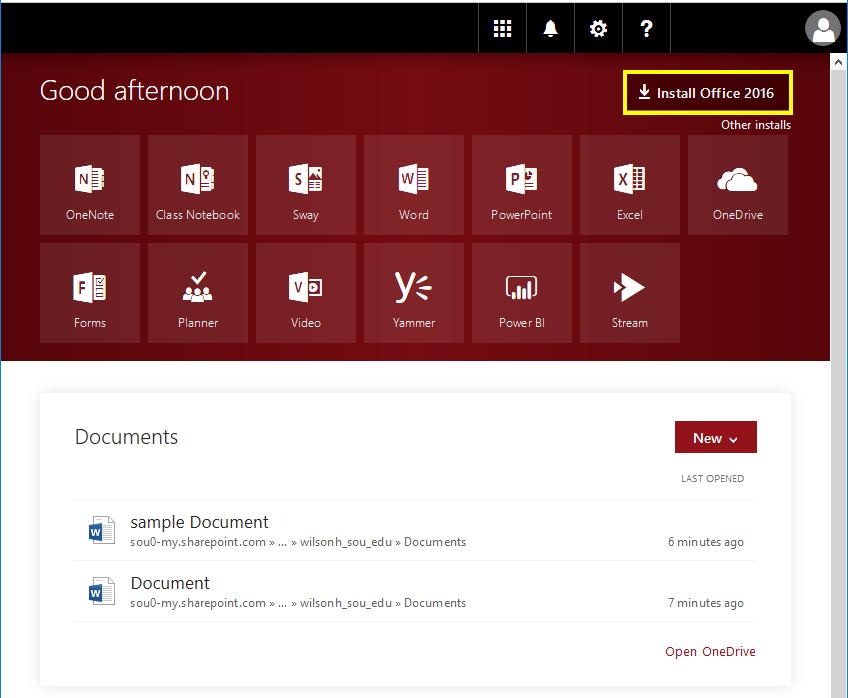 Screenshot of Office 365 Interface