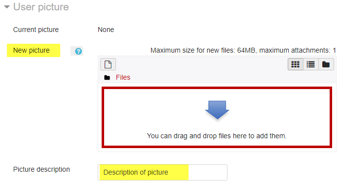 Screenshot of add picture